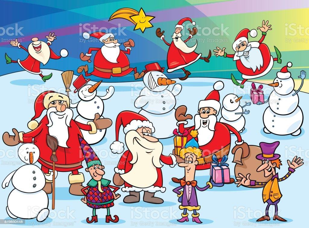 Groupe De Personnages De Dessin Animé Noël Vecteurs Libres De