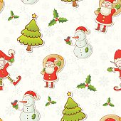 Christmas cartoon characters seamless pattern with Santa Claus, elf and snowman on winter snowflakes background