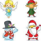 Christmas cartoon characters set. Vector illustration of Christmas angel, elf, snowman and Santa Claus