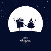 Christmas cartoon figure wave winter night big moon stars background
