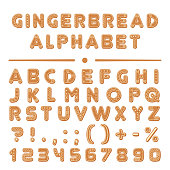 Christmas cartoon gingerbread cookies font alphabet collection