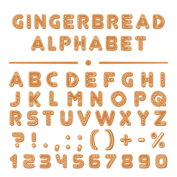 stockillustraties, clipart, cartoons en iconen met christmas cartoon gingerbread cookies font alfabet collectie. - speculaas