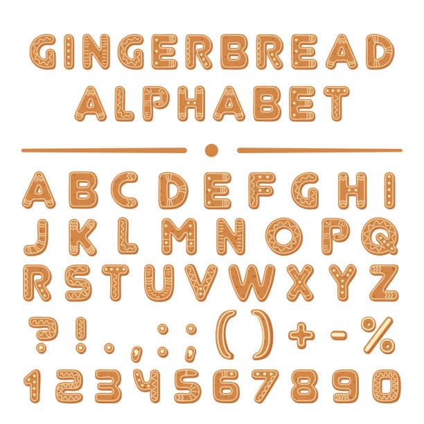 bildbanksillustrationer, clip art samt tecknat material och ikoner med christmas tecknad pepparkakor typsnitt alfabetet samling. - pepparkaka