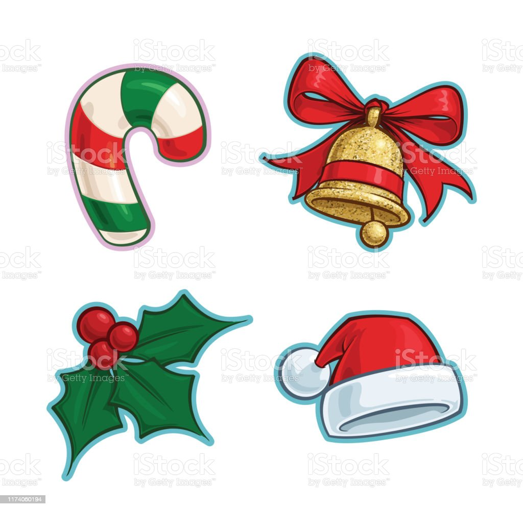 Christmas Cartoon Icon Set Candy Cane Bell Holly Santa Hat Stock Illustration Download Image Now Istock