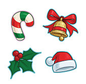 Vector Cartoon Icon set of a Candy Cane, a Golden Glitter Christmas Bell, a Holly Mistletoe and a Red Santa Hat. Illustrations Lines, Color, Shadows and Lights neatly in well-defined layers & groups