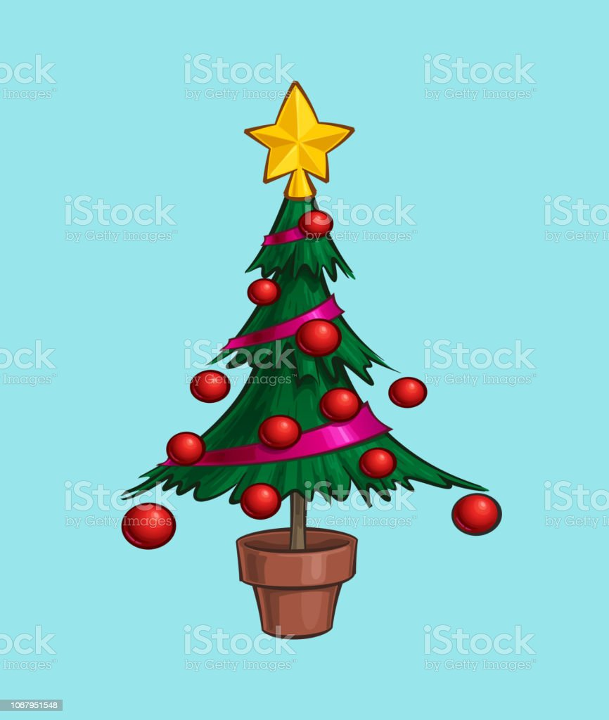 Christmas Cartoon Icon Small Xmas Tree In A Pot Stock Illustration Download Image Now Istock Cartoon topiary in the form of a cone christmas vector. christmas cartoon icon small xmas tree in a pot stock illustration download image now istock