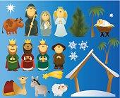 Christmas cartoon nativity scene decorations