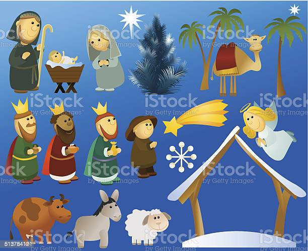Christmas cartoon nativity scene decorations vector id513784121?b=1&k=6&m=513784121&s=612x612&h=oj4sqkqkwqlrtcbezokspeoxvebkjpp sln01vt9g1s=
