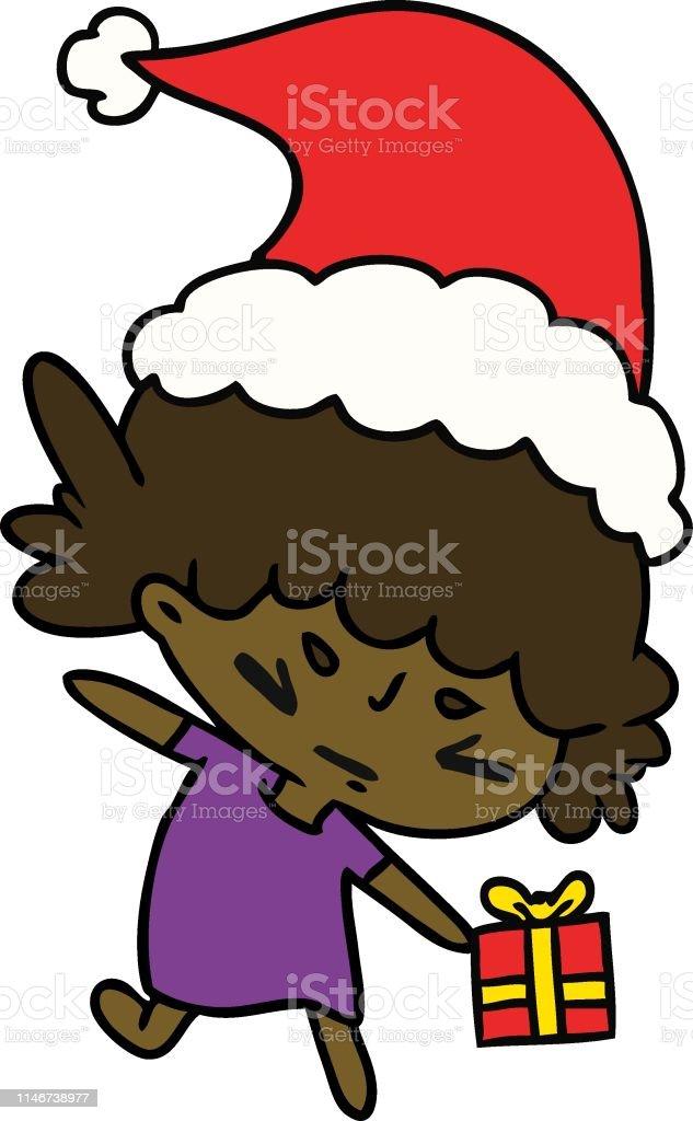 Dessin Animé De Noël De Fille De Kawaii Vecteurs Libres De