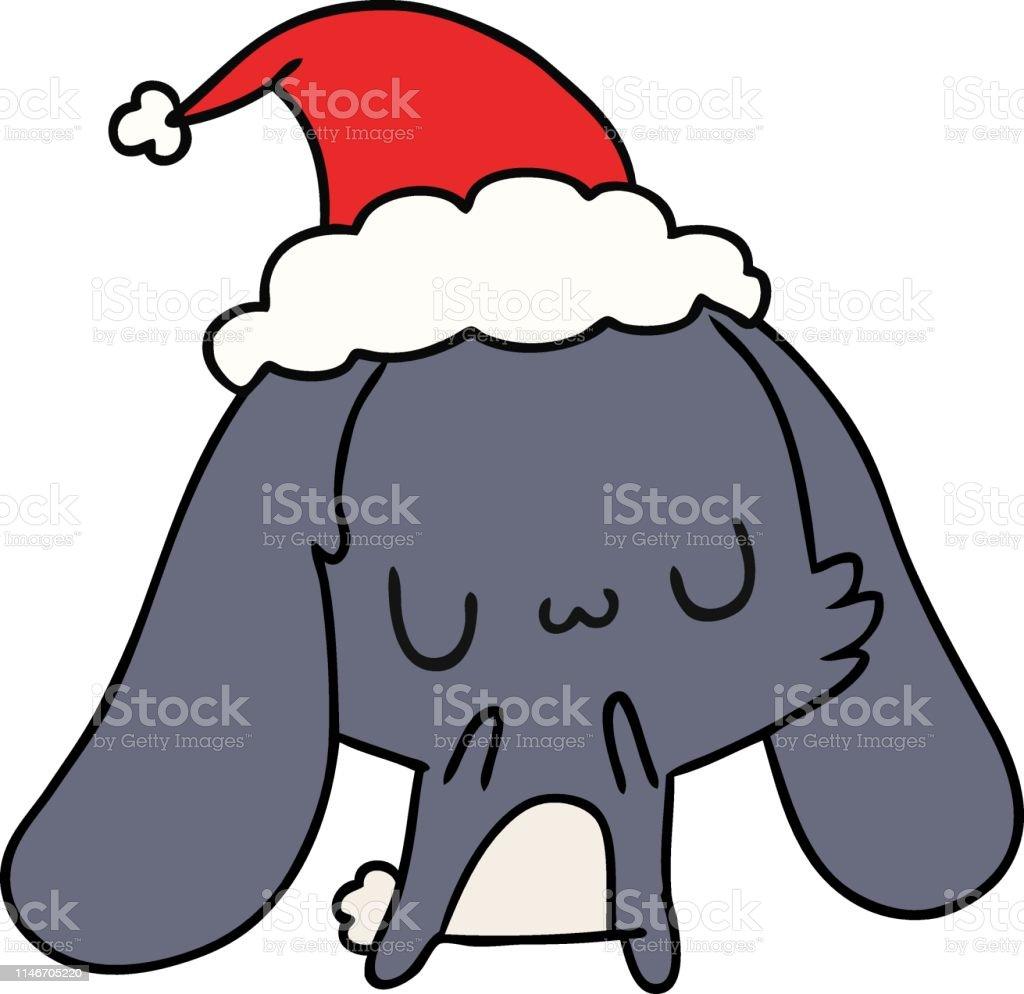 Dessin Animé De Noël De Lapin De Kawaii Vecteurs Libres De