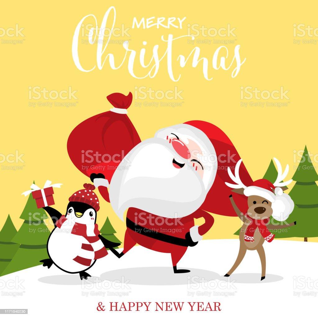Vetores De Desenhos Animados Do Natal De Papai Noel De Rena E De