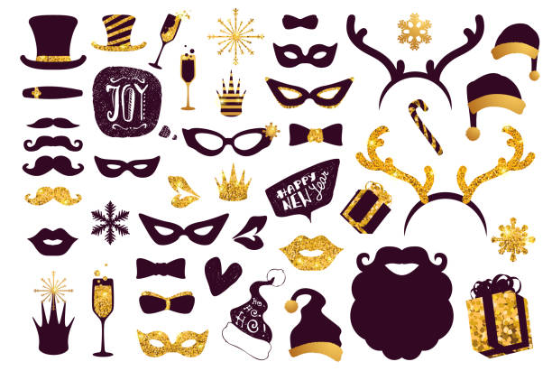 christmas cartoon photo booth props collection. - photo booth stock illustrations, clip art, cartoons, & icons
