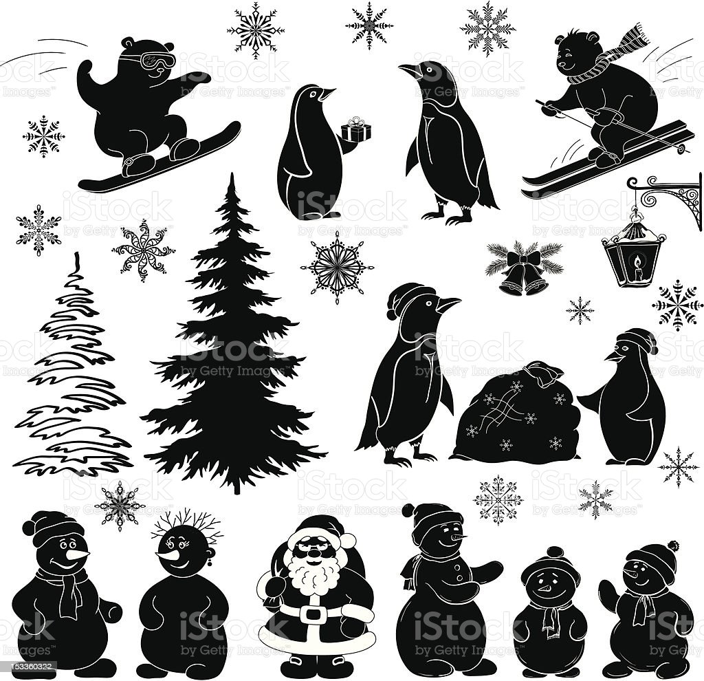 Christmas cartoon, set black silhouettes royalty-free stock vector art