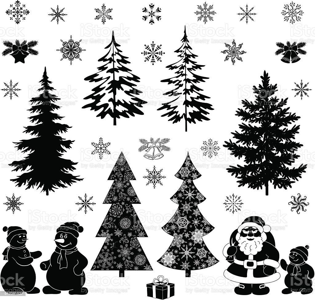 christmas cartoon set black silhouettes stock vector art 517091527
