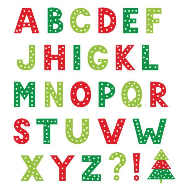 Christmas cartoon vector alphabet, isolated design elements Christmas cartoon vector alphabet, isolated design elements alphabet clipart stock illustrations