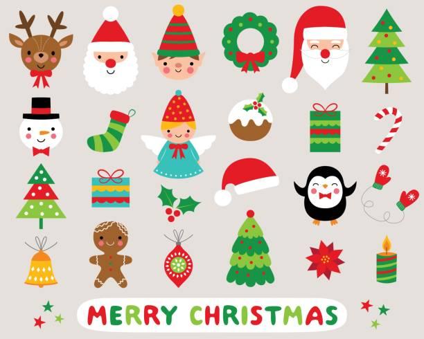 크리스마스 만화 벡터 아이콘 세트 - 가공의 인물 stock illustrations