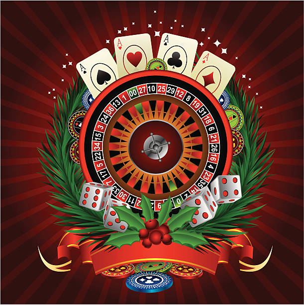 christmas casino vector art illustration