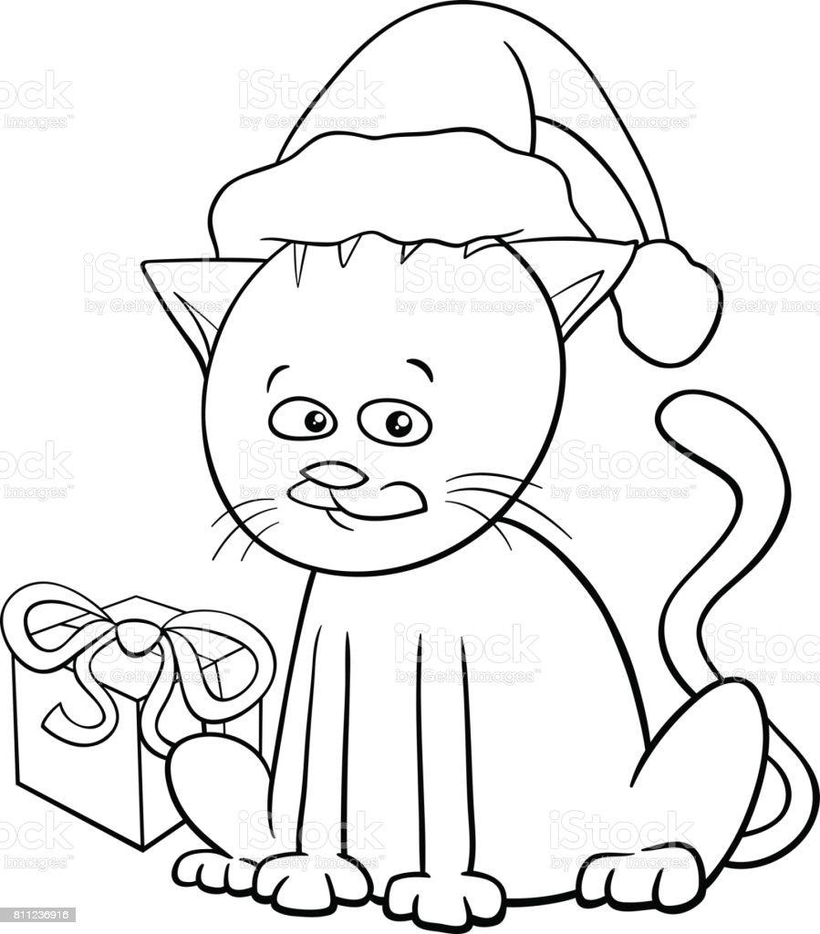 Libro De Colorear De Dibujos Animados De Gato Navidad - Arte ...
