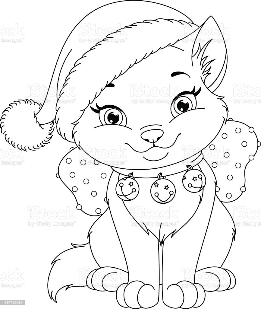 Christmas Cat Coloring Page Stock