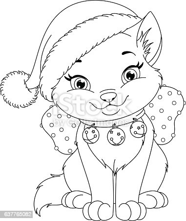 christmas cat coloring pages - photo#4