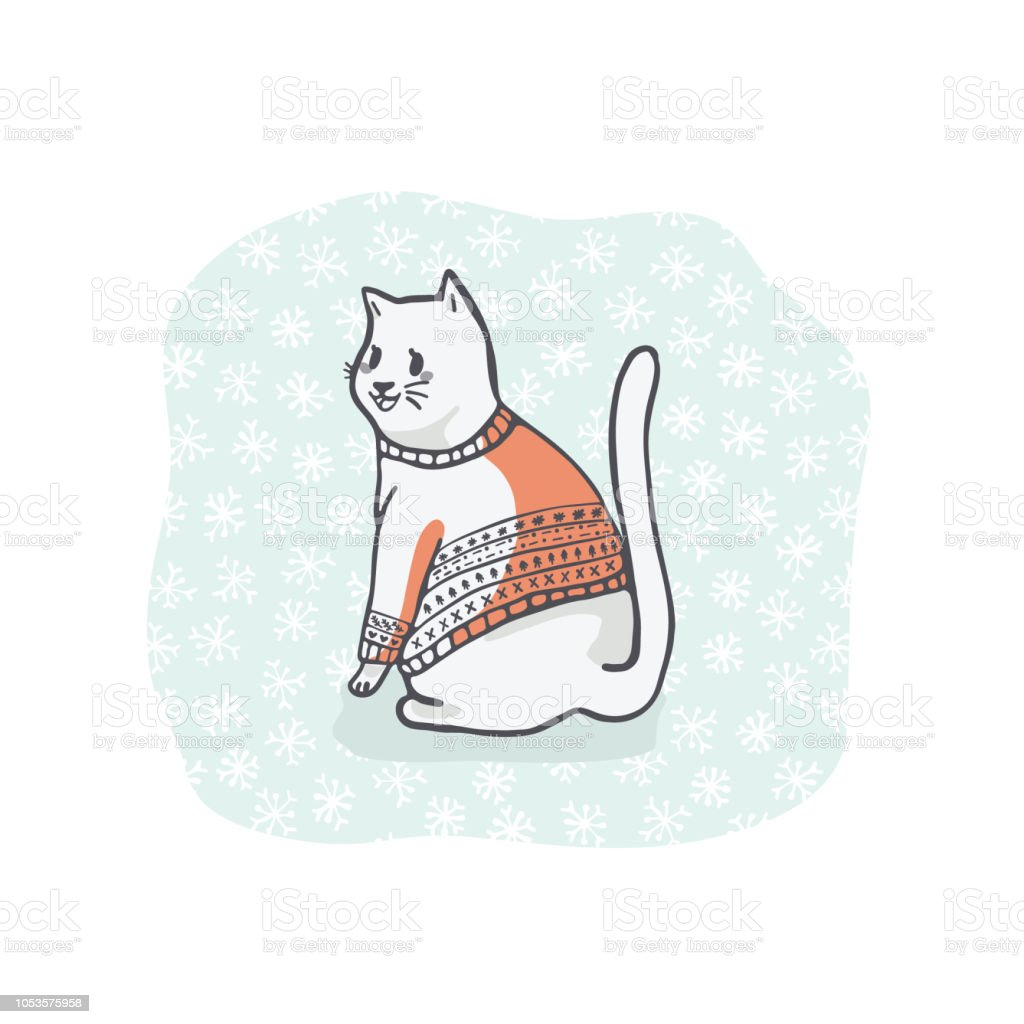 Christmas Cat Greetings Card Clipart Hand Drawn Cat Lover In