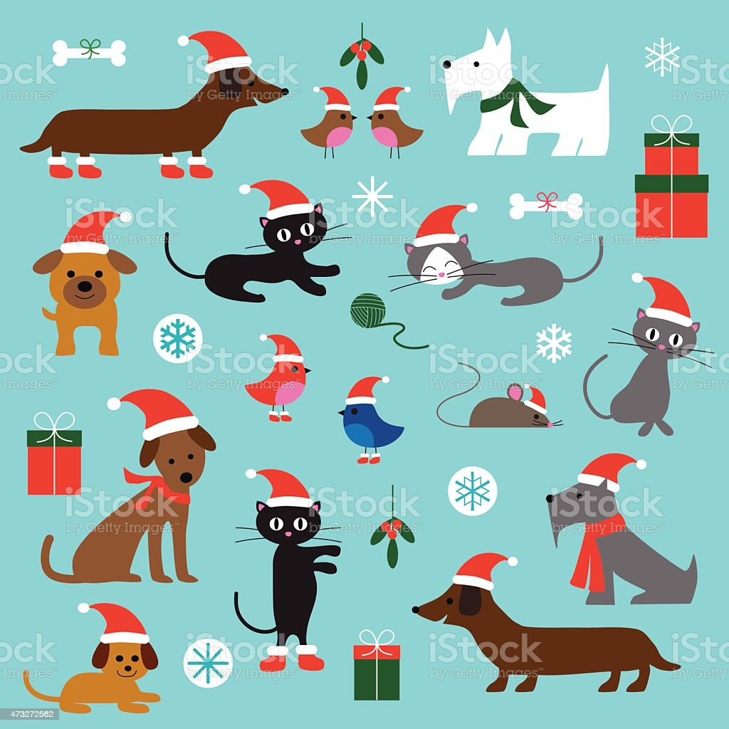 Christmas Cats and Dogs vector art illustration