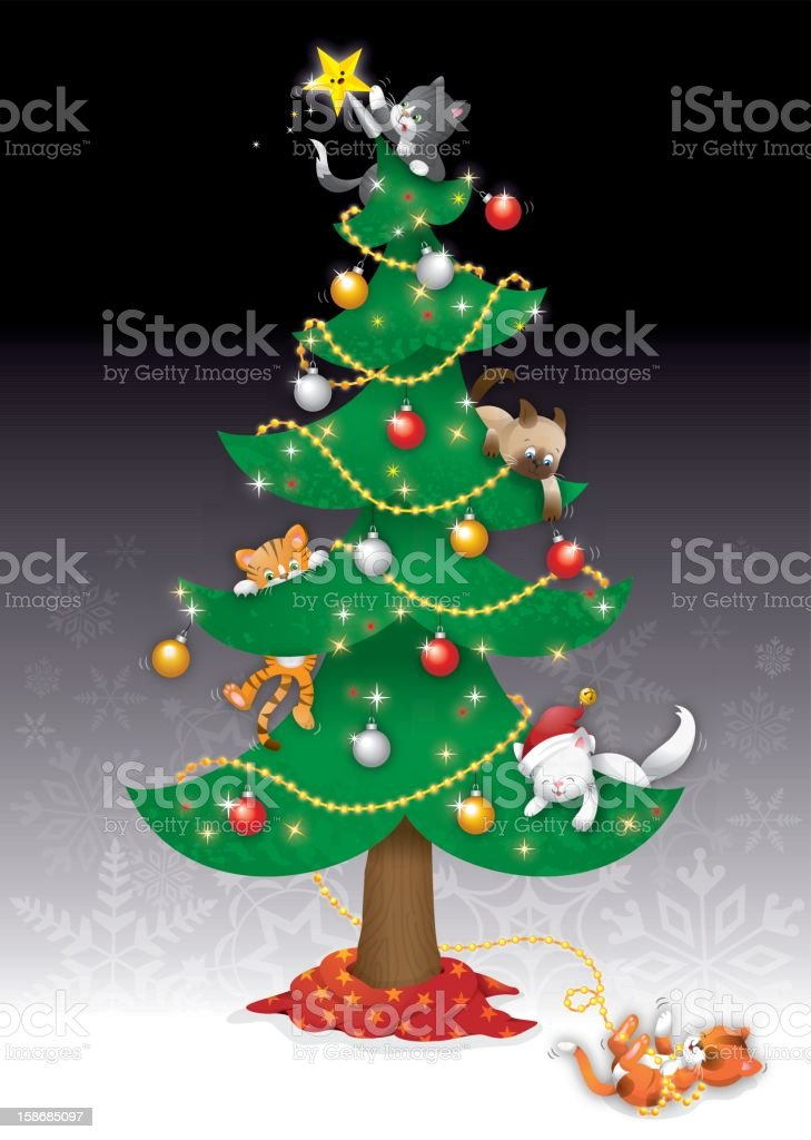 Stella Di Natale Gatti.Gatti Nella Struttura Ad Albero Di Natale Immagini Vettoriali