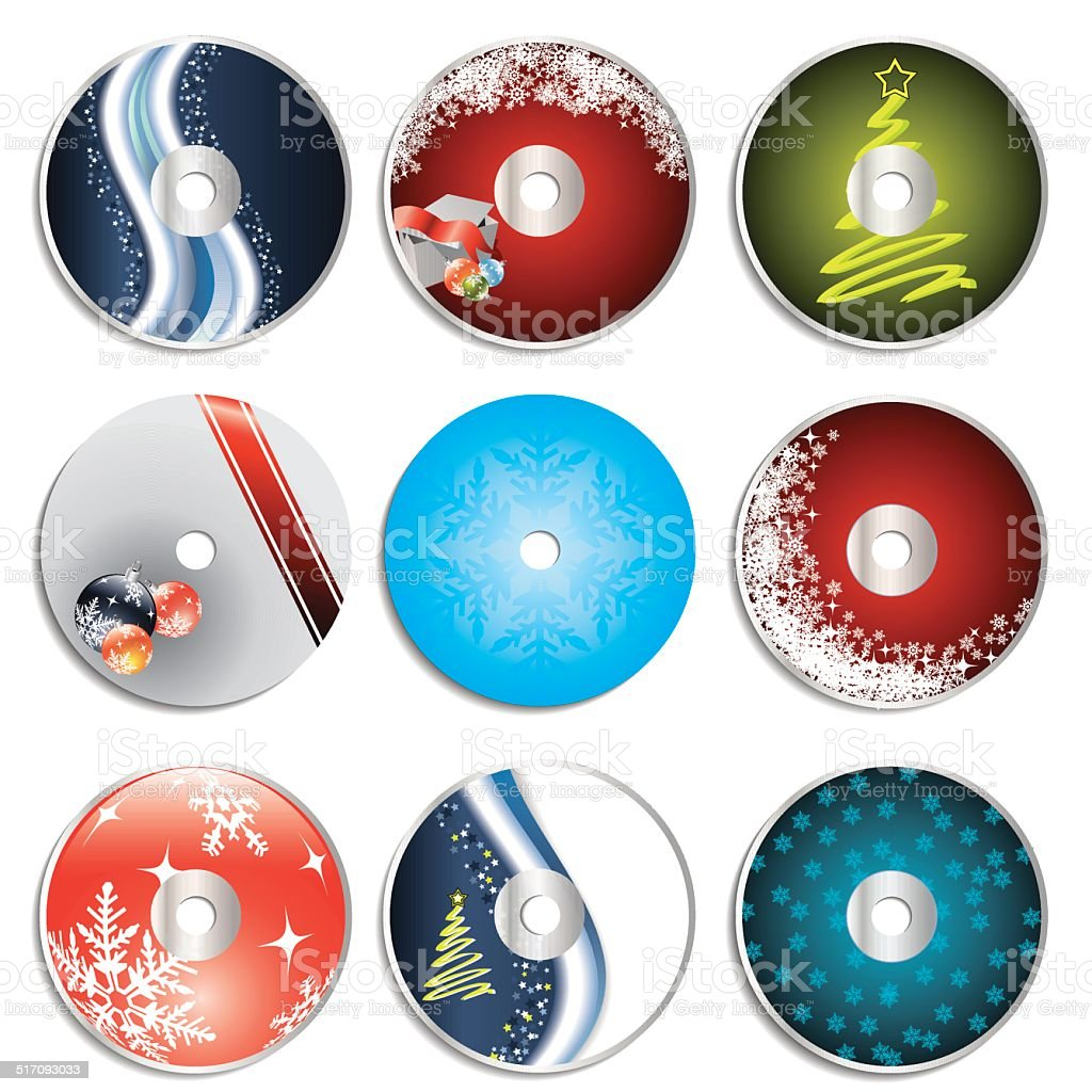Christmas cd&dvd labels vector art illustration