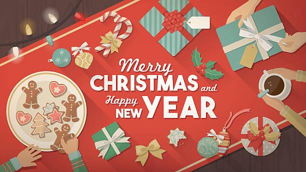 ilustrações de stock, clip art, desenhos animados e ícones de celebração de natal em casa - christmas table
