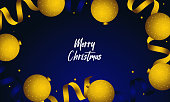 Christmas Celebration background with gold confetti and balloons illustration