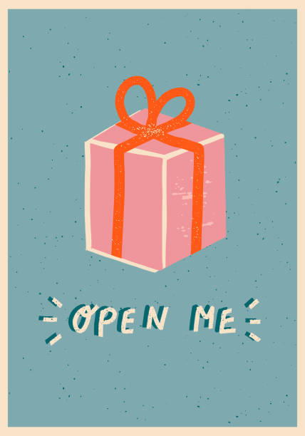 christmas celebration card with present box - secret santa messages stock illustrations