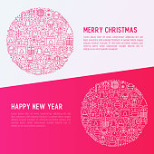 Christmas celebration concept in circle with thin line New Year and Christmas symbols. Vector illustration for web page template, banner, invitation, print media.