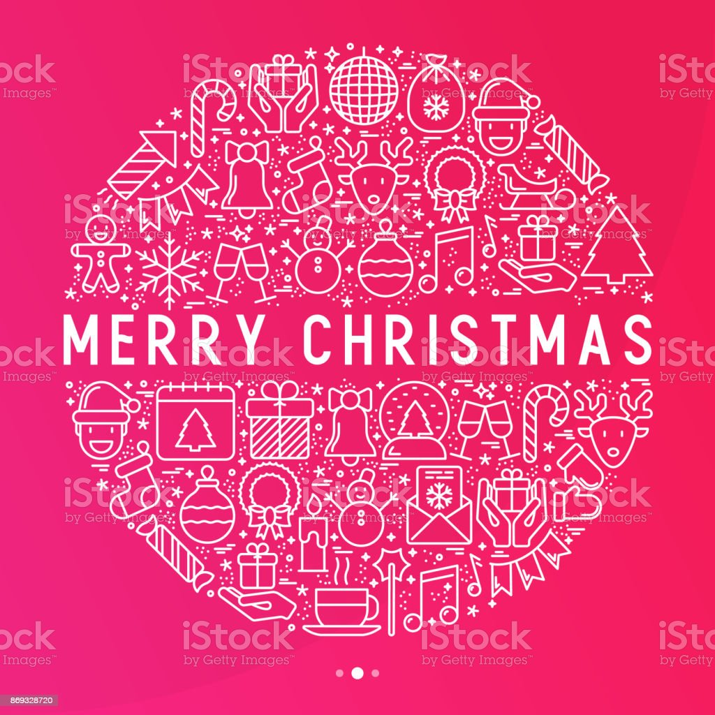 Christmas celebration concept in circle with thin line New Year and Christmas symbols. Vector illustration for web page template, banner, invitation, print media. vector art illustration