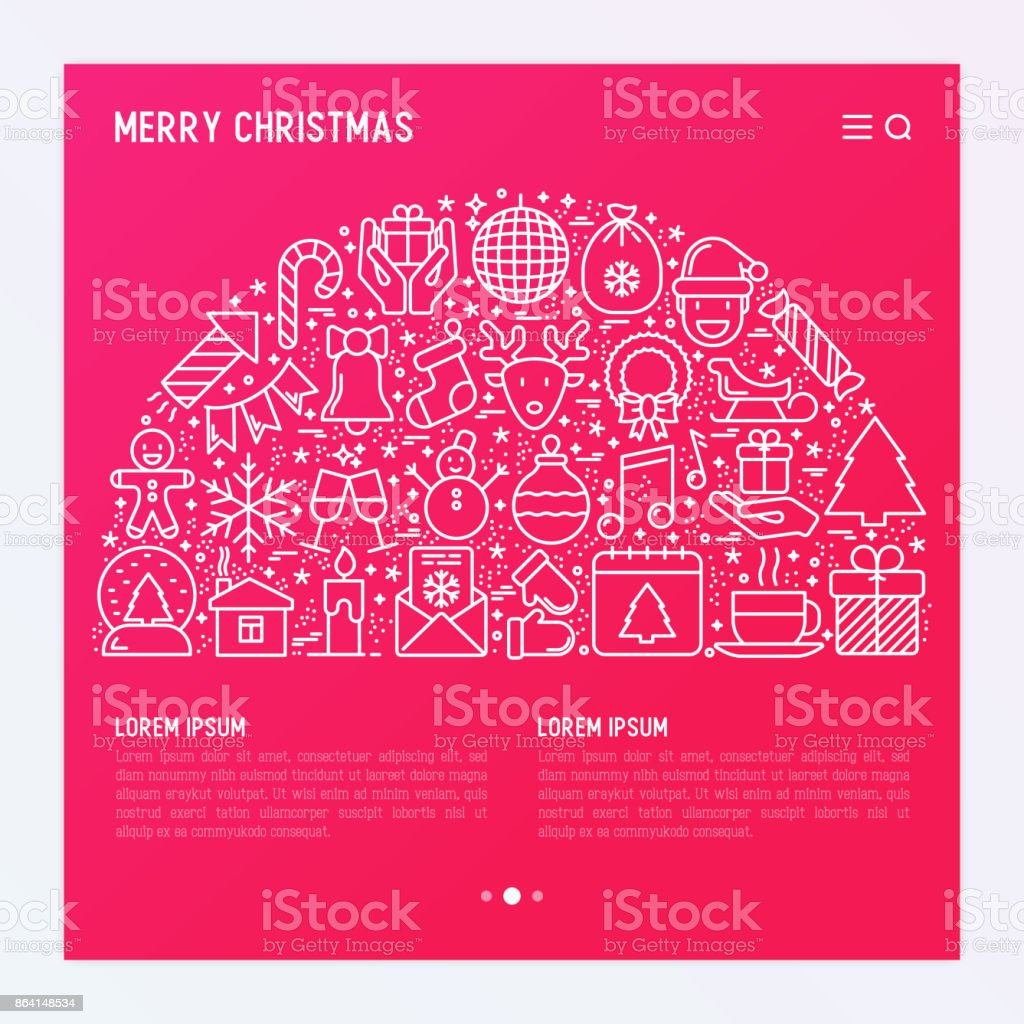 Christmas celebration concept in half circle  with thin line New Year and Christmas symbols for web page, banner, invitation, print media. Vector illustration. royalty-free christmas celebration concept in half circle with thin line new year and christmas symbols for web page banner invitation print media vector illustration stock vector art & more images of 2018