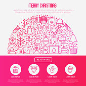 Christmas celebration concept in half circle  with thin line New Year and Christmas symbols for web page, banner, invitation, print media. Vector illustration.