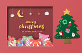 Christmas celebration greeting card in paper cut style. Vector illustration. Design for backdrop, poster, banner, wallpaper.