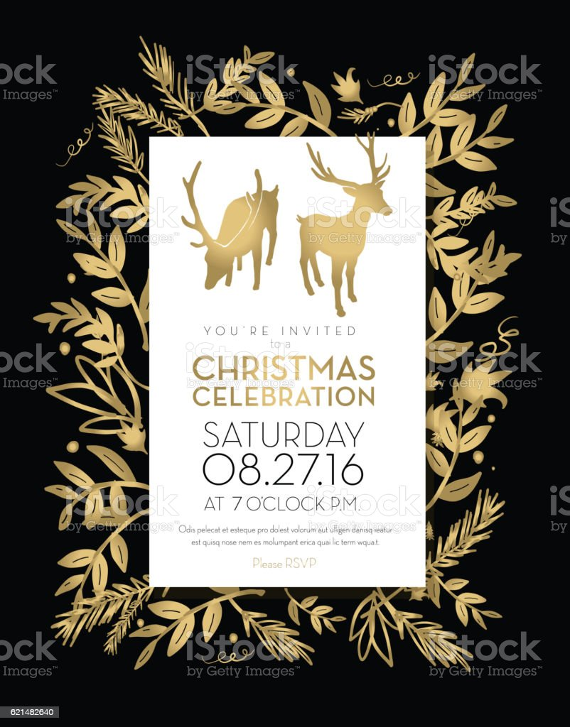 Christmas celebration invitation template golden hand drawn elements vector art illustration