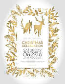 Vector Illustration of Christmas celebration invitation template with golden hand drawn elements. Includes cute deer. Sample text design. Easy layers for customizing.