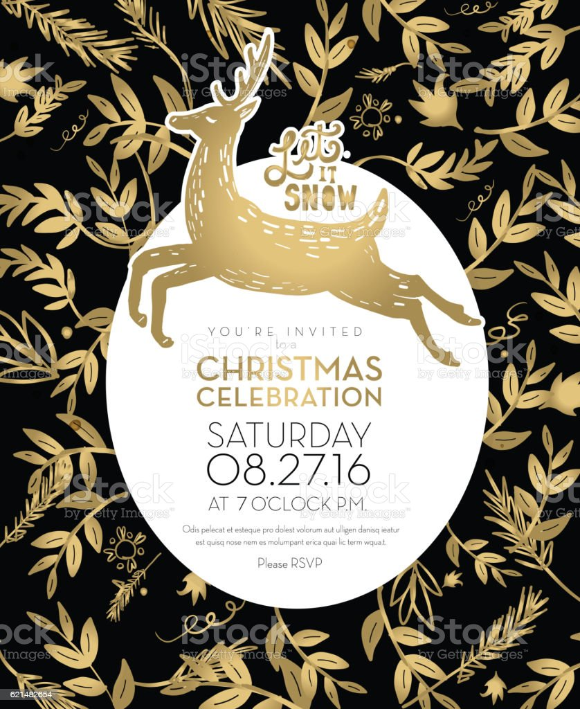christmas celebration invitation template with golden hand drawn