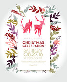 Vector Illustration of Christmas celebration invitation template with hand drawn elements. Includes cute deer. Sample text design. Easy layers for customizing.