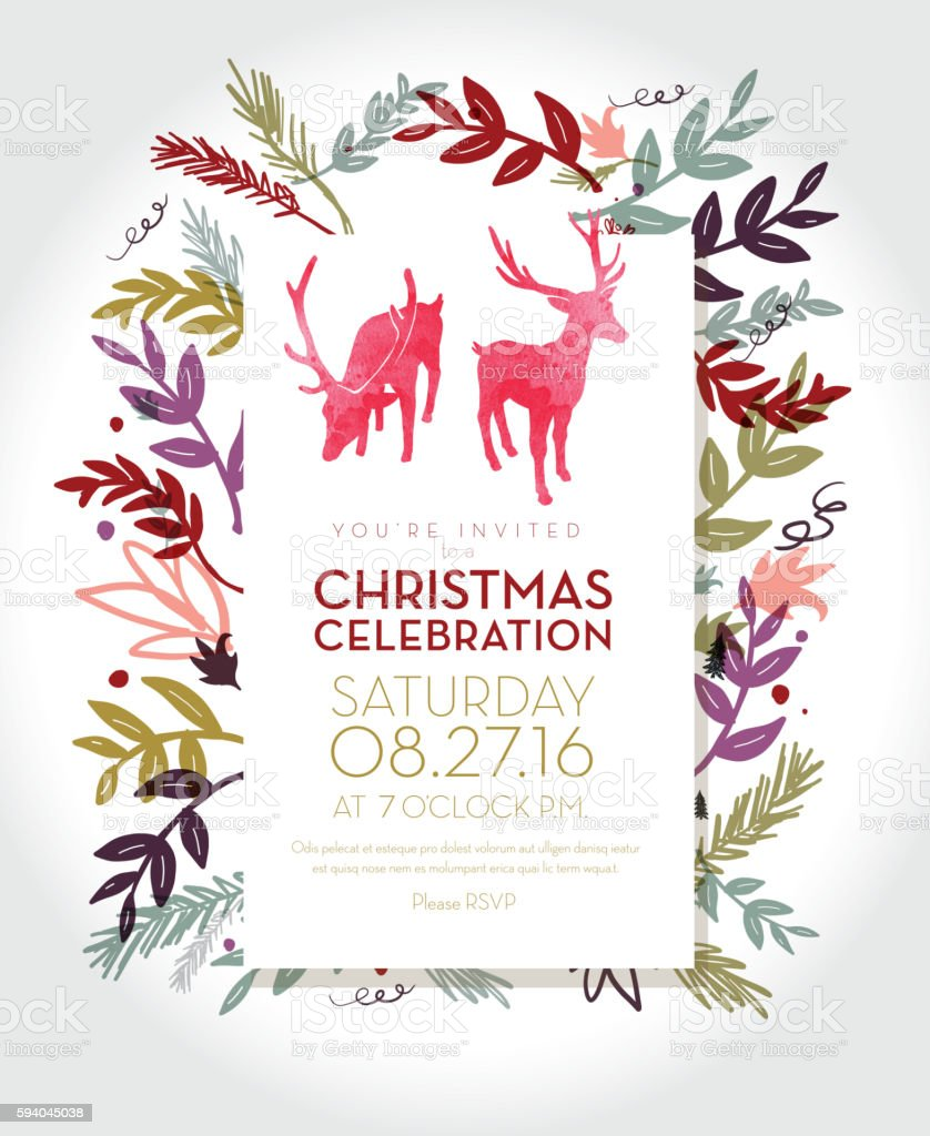 Christmas celebration invitation template with hand drawn elements - ilustración de arte vectorial