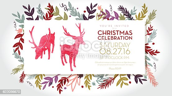 Vector Illustration of panoramic Christmas celebration invitation template with hand drawn elements. Includes cute deer. Sample text design. Easy layers for customizing.