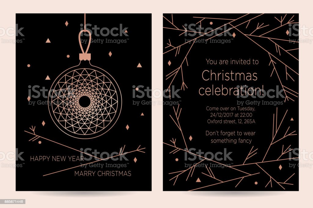 christmas celebration new year invitation card for the party royalty free stock vector