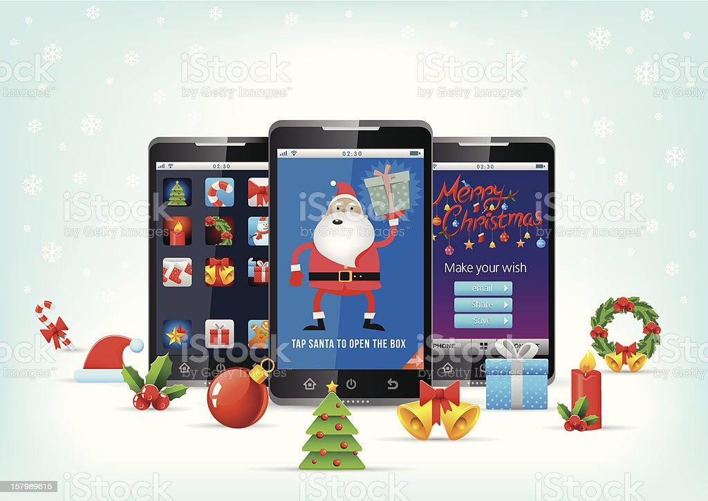 Christmas celebration on smartphone vector art illustration