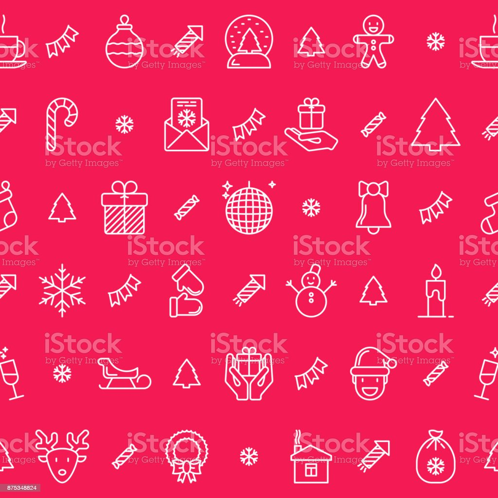 Christmas celebration seamless pattern with thin line New Year and Christmas symbols. Vector illustration for web page template, banner, invitation, print media. vector art illustration