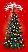 Drawn of vector Christmas tree celebration card. This file of transparent and created by illustrator CS6.