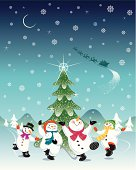 Merry Snowmen celebrate the arrival of Santa while dancing around the Christmas tree. All objects are grouped and layered separately. Easy to edit.