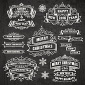 Christmas and holidays chalkboard. Vector design elements. Elements is grouped in a separate layer and easy to edit. EPS10 with transparencies.