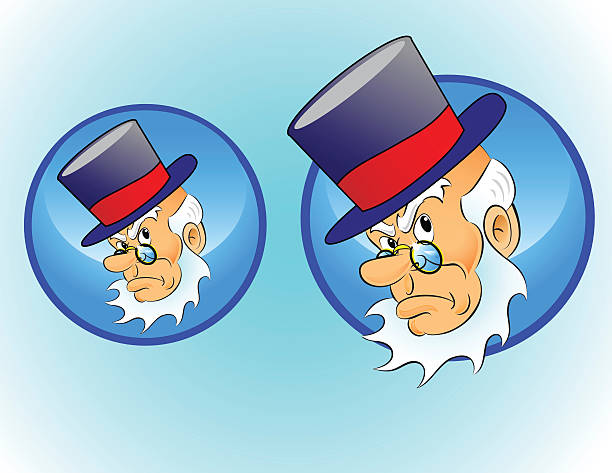christmas character icon: scrooge - old man hat stock illustrations, clip art, cartoons, & icons