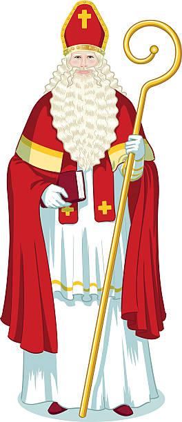 stockillustraties, clipart, cartoons en iconen met christmas character sinterklaas cartoon - mijter